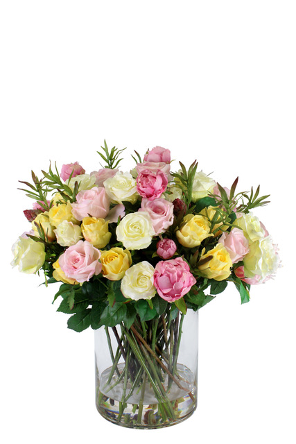 http://www.flower-genie.co.uk/profile/Mixed Roses in Milk Bottle Vase