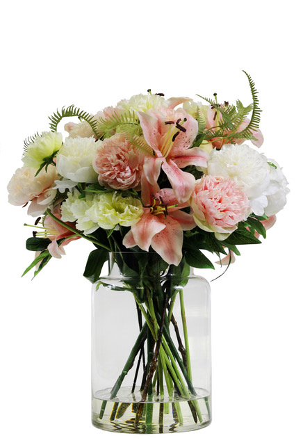 https://www.flower-genie.co.uk/profile/Peony / Lily Mix with Fern